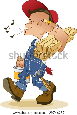 Cheerful Handyman Whistles While He Works - stock vector
