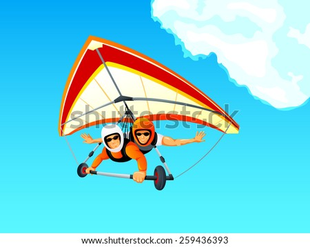 Cheerful hang gliding tandem flying in sky - stock vector