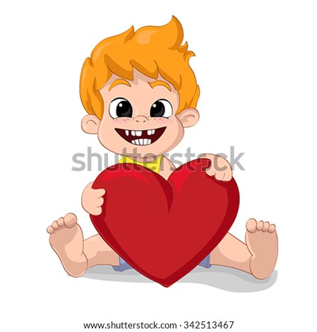 cheerful happy baby boy playing with big red heart isolated white background. Illustration, character, vector   - stock vector