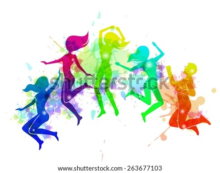 Cheerful happy free motion jumping people rainbow colored vector illustration - stock vector