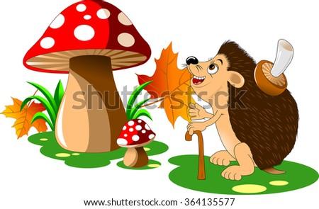 cheerful hedgehog with a big mushroom on the back;  - stock vector