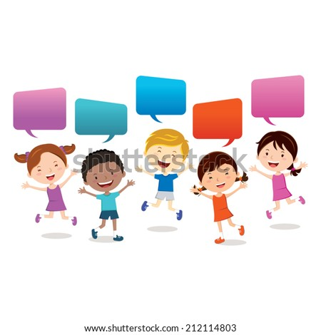 Cheerful kids. Happy kids jumping with speech bubbles. - stock vector