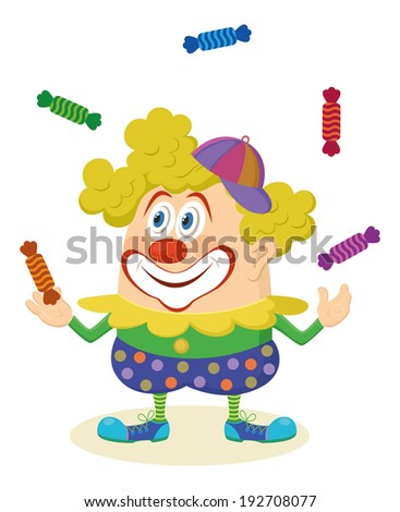 Cheerful kind circus clown in colorful clothes juggling candies, holiday illustration, funny cartoon character, isolated on white background. Vector - stock vector