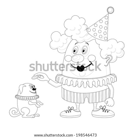Cheerful kind circus clown with trained dog, holiday illustration, funny cartoon character, black contour isolated on white background. Vector - stock vector