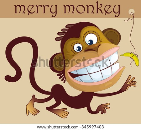 Cheerful monkey reaching for a banana. Cartoon character of the year. - stock vector