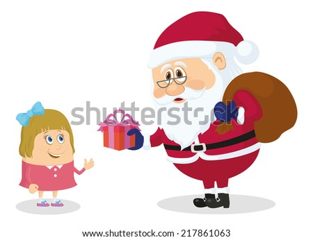 Cheerful Santa Claus with a bag of gifts gives a little girl gift box, Christmas holiday illustration, funny cartoon characters isolated on white background. Vector - stock vector