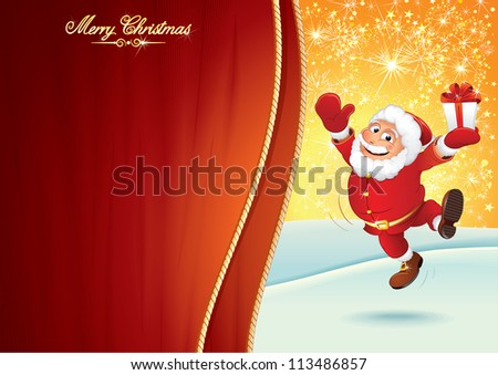 Cheerful Santa Claus with Gift Box. Festive Christmas Background - stock vector