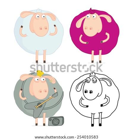 Cheerful sheep - stock vector