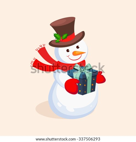 Cheerful Snowman holding a Present. Holiday Vector Illustration - stock vector