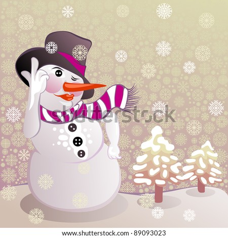 cheerful snowman wearing a top hat and a scarf - stock vector