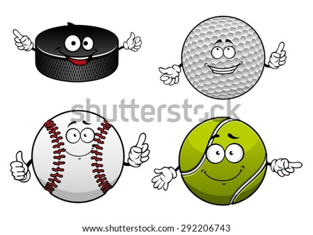 Cheerful sporting balls and puck cartoon characters with items of ice hockey, golf, tennis and baseball for sports team or club mascot design - stock vector