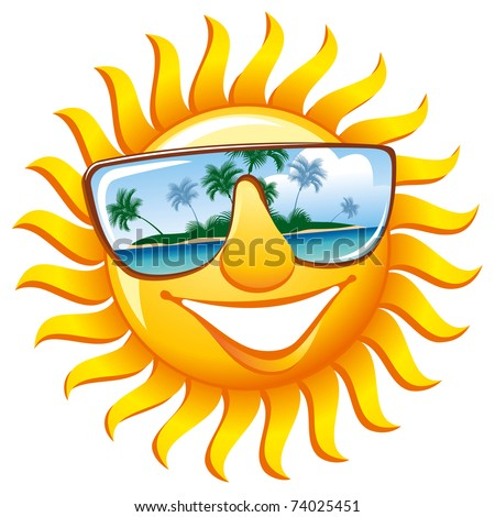 Cheerful sun in sunglasses with the reflection of a tropical island - stock vector