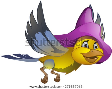cheerful yellow bird hat in lilac - stock vector