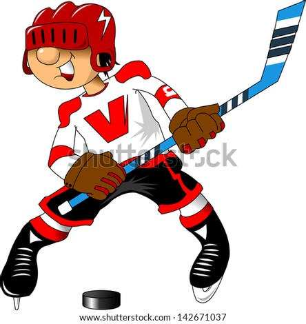 cheerful young hockey player attacks the opponent; - stock vector