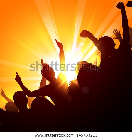 Cheering crowd at a concert in the sun - stock vector