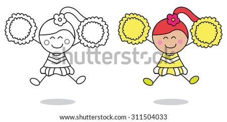 Cheerleader girl  - stock vector