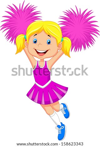 Cheerleader with Pom Poms - stock vector