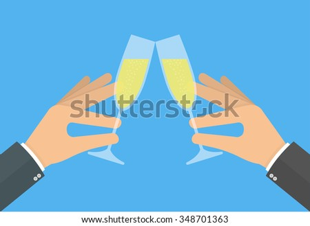 Cheers with champagne concept. Two hand holding and clinking with two glass of champagne. Flat style - stock vector