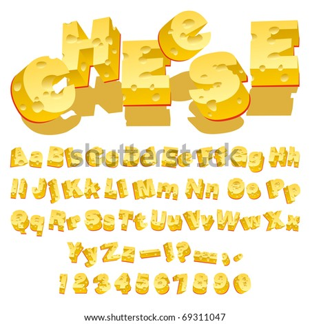 Cheese Decorative Letters Set on White Background. Vector Illustration - stock vector
