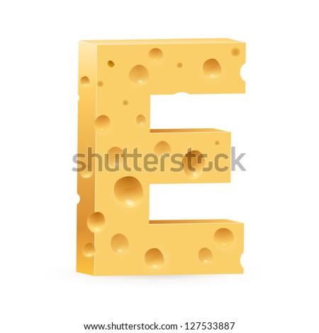 Cheese font E letter. Illustration on white - stock vector