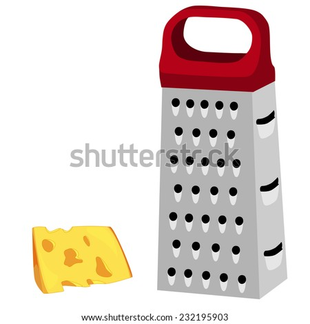 Cheese grater, red handle, grater isolated, grater vector ...