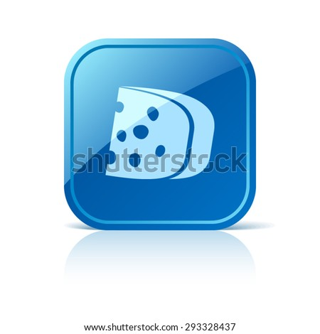 Cheese icon on blue web button - stock vector