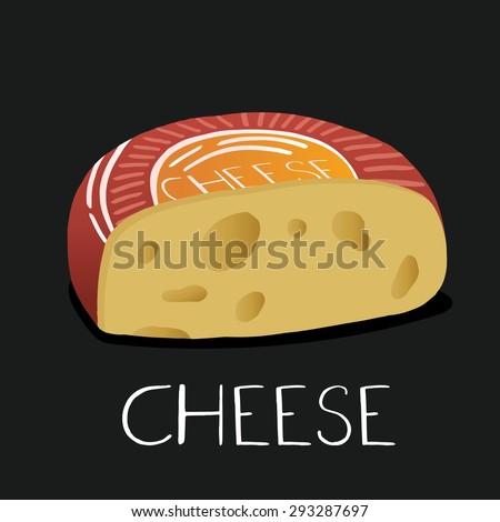 Cheese on chalkboard. - stock vector