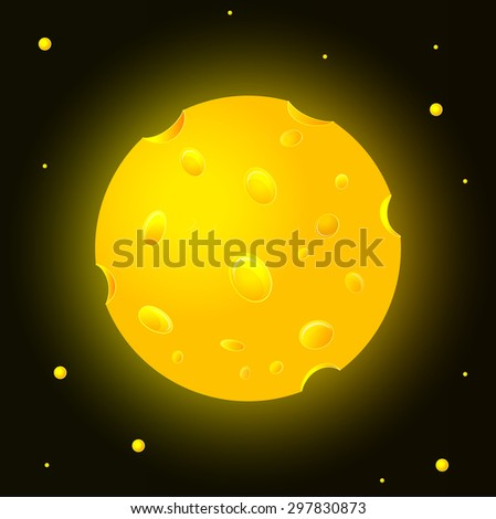 Cheese planet in space - stock vector