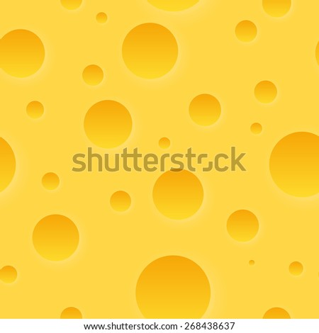 Cheese Texture Pattern for Vector Background, Looped Illustration - stock vector