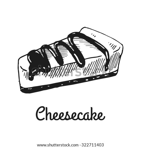 Cheesecake. Isolated with the inscription. Graphic art. Hand drawing - stock vector