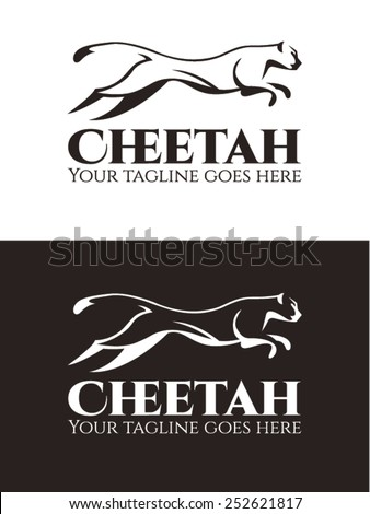 Cheetah Logo Vector template, an elegant logo template created with shapes and contrasts of black and white. Usable to represent speed, wildlife, exotic, fierceness, etc. - stock vector