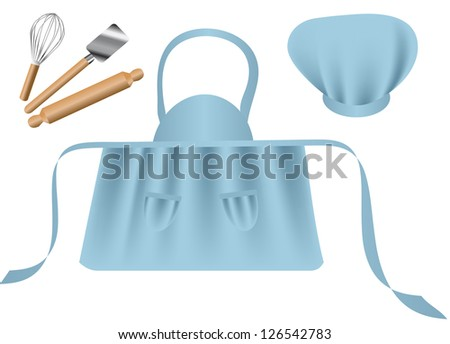 Chef accessories isolated on the white background - stock vector