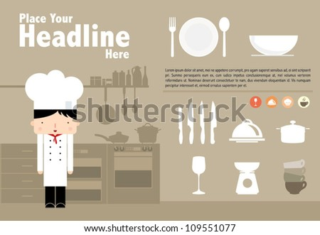 Chef and the kitchen / vector illustration - stock vector