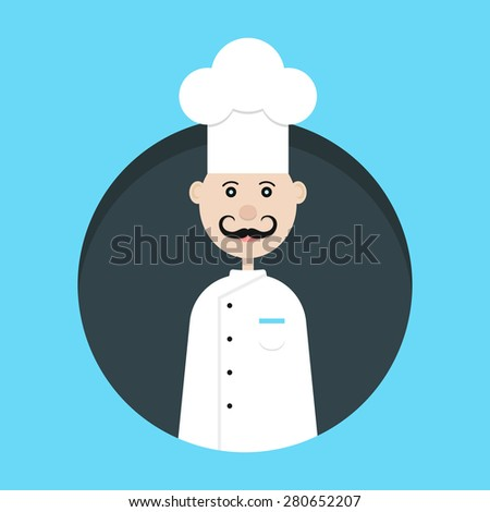 chef avatar in dark circle. concept of haute cuisine, culinary secrets, invitation, hobby, bon appetite, chief. isolated on blue background. flat style trend modern design vector illustration - stock vector