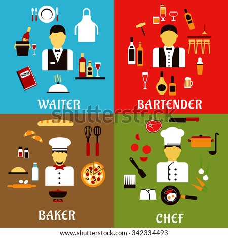 Chef, baker, waiter and bartender professions flat icons with workers of food service industry in professional uniform,  with food and drink symbols - stock vector