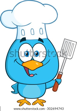 Chef Blue Bird Cartoon Character Holding A Slotted Spatula. Vector Illustration Isolated On White - stock vector