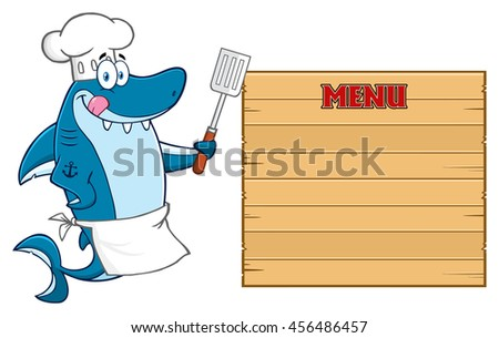Chef Blue Shark Cartoon Mascot Character Licking His Lips And Holding A Spatula To Wooden Blank Board With Text Menu. Vector Illustration Isolated On White Background - stock vector