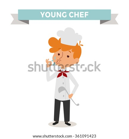 Chef boy with cook hat isolated on white. Cute cartoon vector profession chef kid with cook spoon. Chef boy funny cartoon kid. Profession cook chef boy children vector. Profession chef boy - stock vector