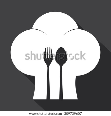 Chef cook hat with spoon and fork on light background. - stock vector