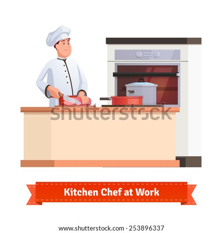 Chef cook slicing meat with a knife at the kitchen table with some pot and pan. Flat style illustration or icon. EPS 10 vector. - stock vector