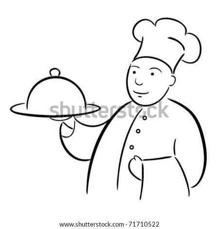 chef cook with tray calligraphy drawing - stock vector