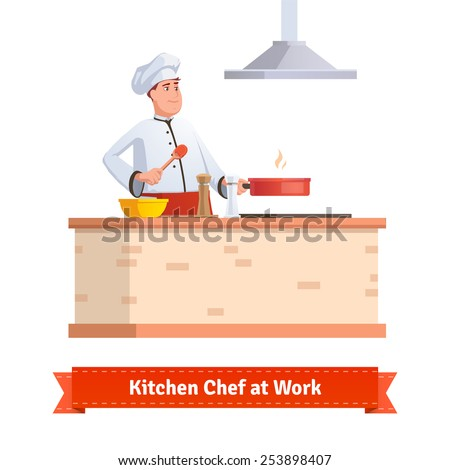 Chef cooking food. Frying in the pan at the kitchen table holding wooden spoon. Flat style illustration or icon. EPS 10 vector. - stock vector