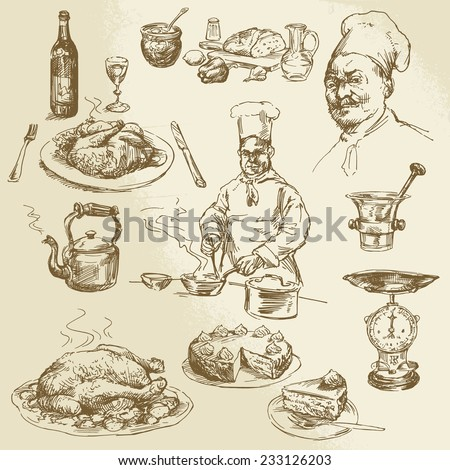 chef, cooking - hand drawn collection - stock vector