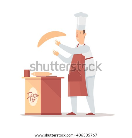 Chef cooking pizza. Vector illustration - stock vector