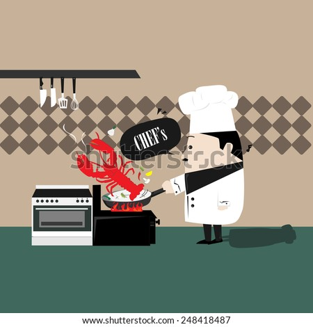 chef cooking shrimp - stock vector