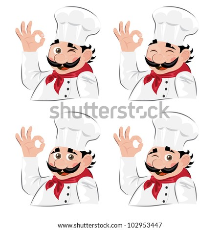Chef emotion set - stock vector