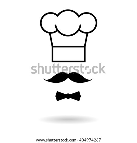 Chef hat and moustache icon - stock vector
