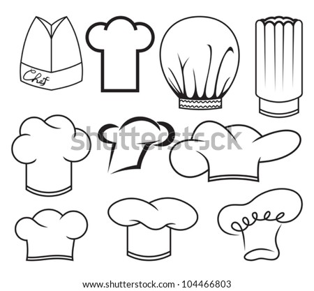 chef hat collection - stock vector
