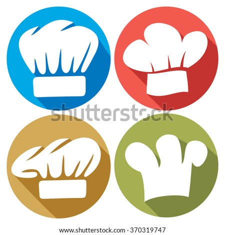 chef hat flat icons - stock vector