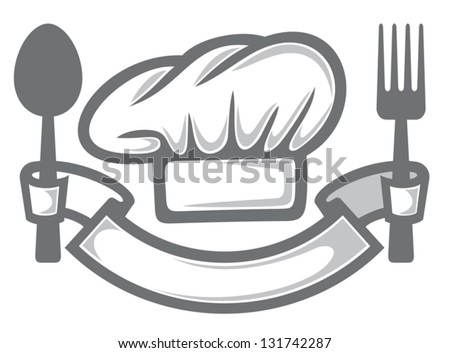 chef hat, fork and spoon (food icon, food symbol, restaurant label, restaurant symbol) - stock vector